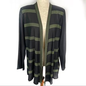 Exclusively Misook Black / Green striped cardigan